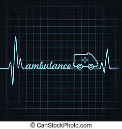 batida coração, fazer, ambulância, texto