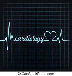 batida coração, fazer, cardiologia, texto