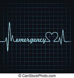 batida coração, fazer, emergência, texto