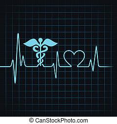 batida coração, fazer, médico, e, coração