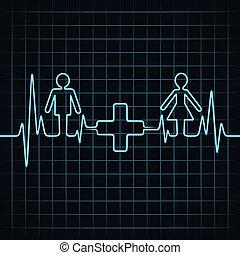 batida coração, fazer, macho, &medical