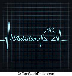 batida coração, fazer, palavra, nutrição