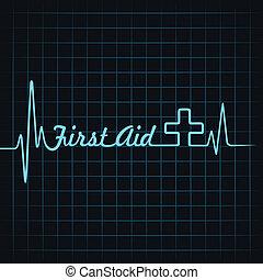 batida coração, fazer, primeiro, palavra, ajuda