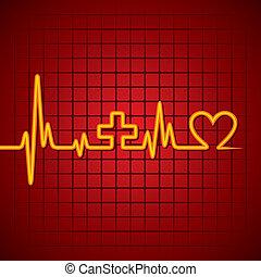 batida coração, fazer, sinal médico, &heart