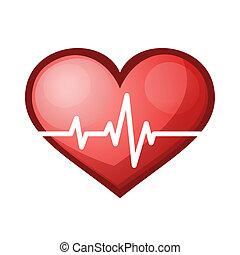 batida coração, ilustração, taxa, vetorial, cuidados de...