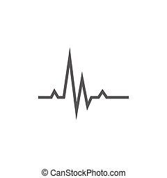 batida, coração, linha, icon., cardiograma