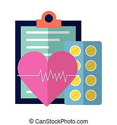 batida coração, médico, área de transferência