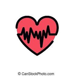 batida coração, símbolo, desenho, isolado, ícone