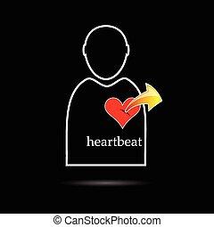 batida coração, vetorial, homem, ícone