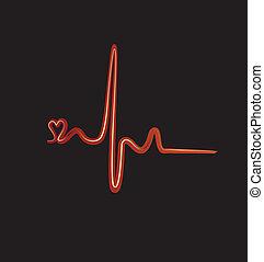 batida, coração, vetorial, logotipo