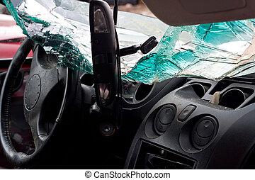 batido, interior, automóvel