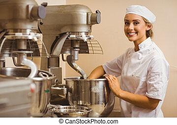 batidora, panadero, masa, utilizar, mezcla, grande