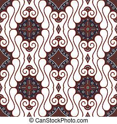 batik, marrón, blanco, seamless, patrón