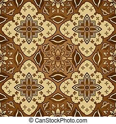 batik, marrón, seamless, patrón