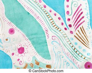 batik, motívum, elvont, selyem, kézi munka