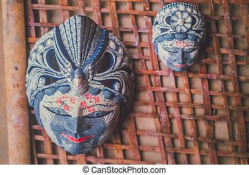 batik painted wooden mask 1