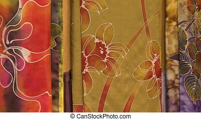 Batik Painting On Different Backgrounds, Malaysia - Close-up...