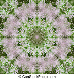 Tie Dye pattern in shades of green and lavender.
