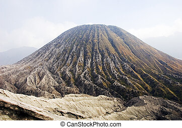 Batok cone and its deep radial erosion gullies in Bromo ...