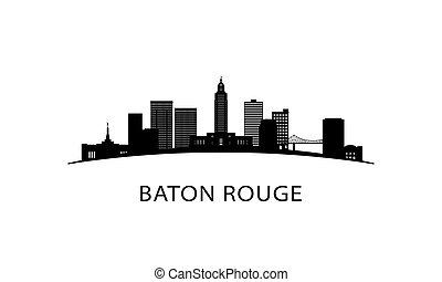 Baton Rouge city Louisiana skyline. Black cityscape isolated...