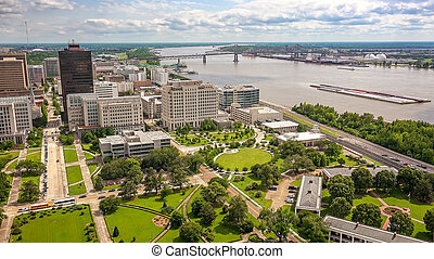Baton Rouge City Skyline and Mississippi River in Louisiana