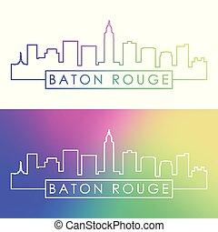 Baton Rouge city skyline. Colorful linear style. Editable ...