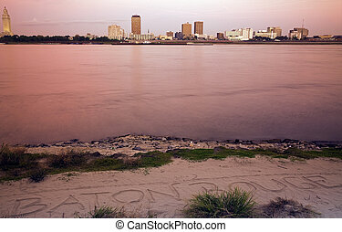 Baton Rouge seen after sunset