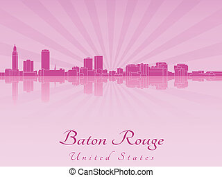 Baton Rouge skyline in purple radiant orchid in editable...