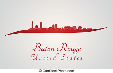 Baton Rouge skyline in red and gray background in editable ...