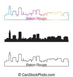 Baton Rouge skyline linear style with rainbow in editable ...