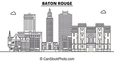 Baton Rouge , United States, outline travel skyline vector ...