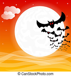bats against the full moon