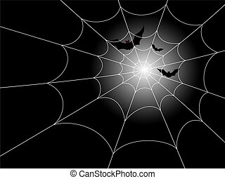 Illustration of red-eyed bats in flight against a moonlit night, with a spiderweb in the foreground.