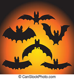 bats - set of vector black vampire bats on Halloween