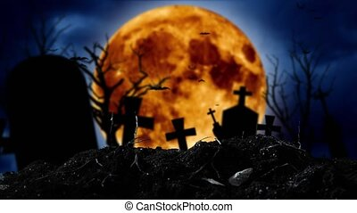 Bats fly in the graveyard behind the silhouettes of crosses...