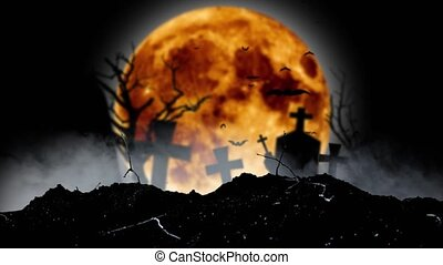 Bats fly in the graveyard behind the silhouettes of crosses and a tree and a moon. Black smoky background