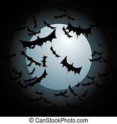 Bats Flying Full Moon - An image of bats flying with a full...