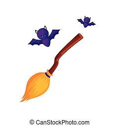 bats flying halloween with broom witch