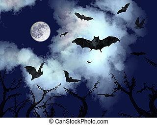 Bats flying in the halloween night