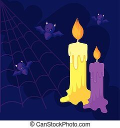 bats flying with candles in scene halloween