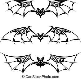 Bats illustration collection. Illustration on white ...