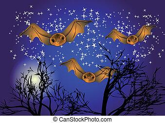 bats in night sky