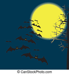 Bats in the night sky