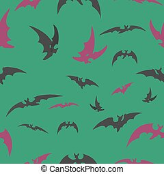 bats on a green background for Halloween.