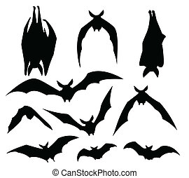 bats silhouette - bat silhouette of various movement, for...