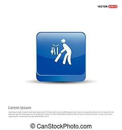 Batsman Icon - 3d Blue Button