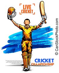 Batsman playing cricket championship sports - illustration...