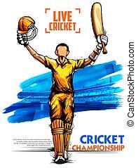 Batsman playing cricket championship sports - illustration...