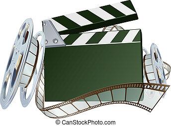 battant, bobine cinématographique, planche, fond