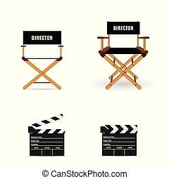 battant, film, chaise, directeur, illustration